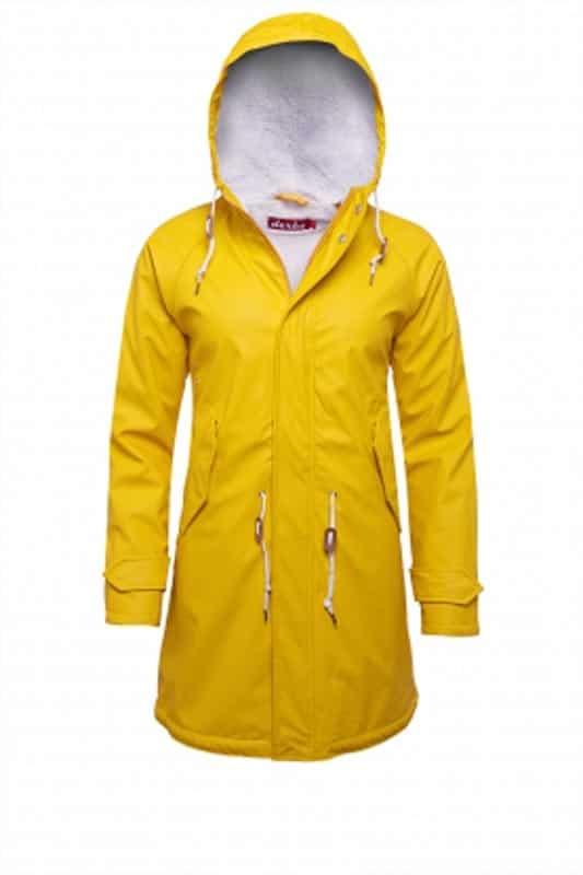 Derbe Winterjacke Damen Travel Cozy Friese yellow